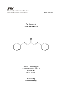 synthesis of dibenzalacetone Synthesis of dibenzalacetone and benzalacetone derivatives by using crossed- aldol condensation  in these reactions the yield of benzalacetone synthesis is.
