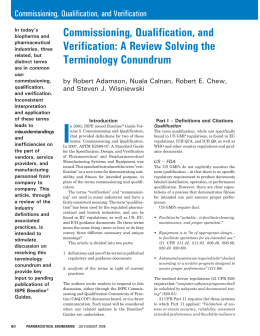 Commissioning, Qualification, and Verification: A Review Solving