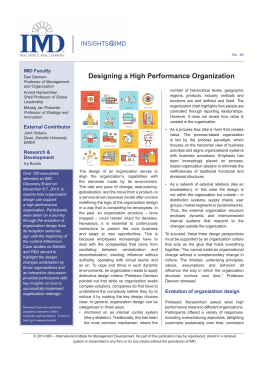Designing a High Performance Organization
