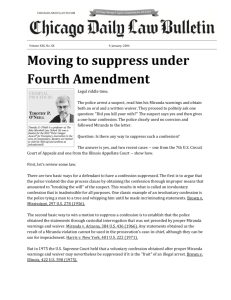 Moving to suppress under Fourth Amendment