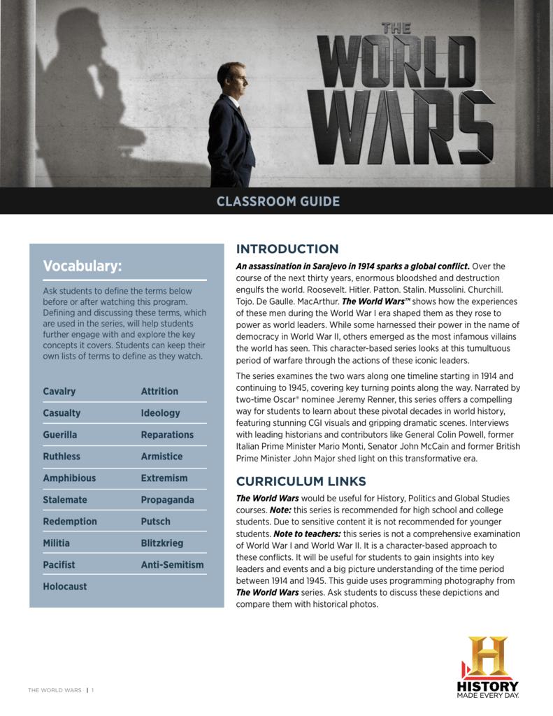 World Wars Classroom Guide