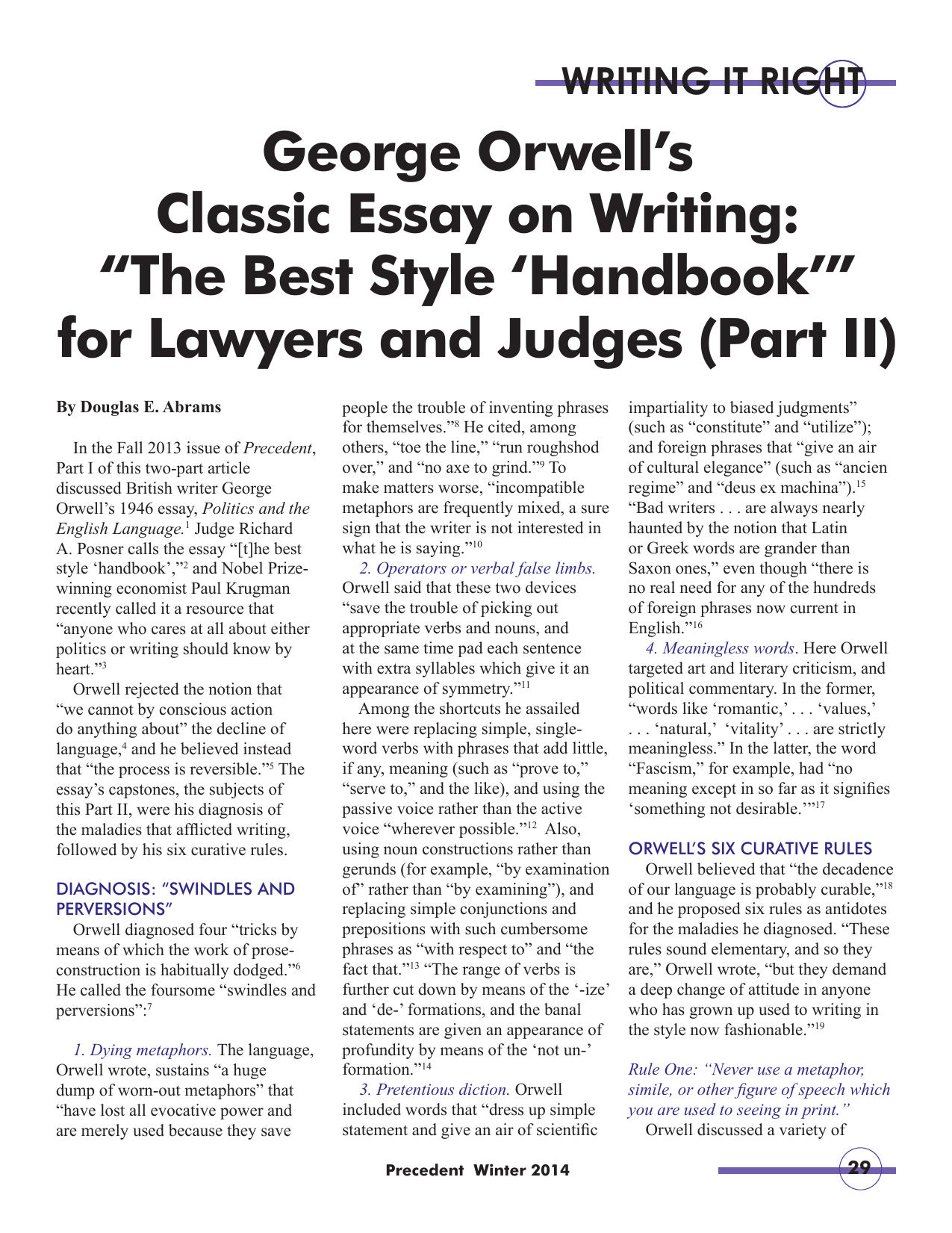 George Orwells Classic Essay On Writing The Best  Thesis Examples For Essays also Teaching Essay Writing To High School Students  Essay On Health And Fitness