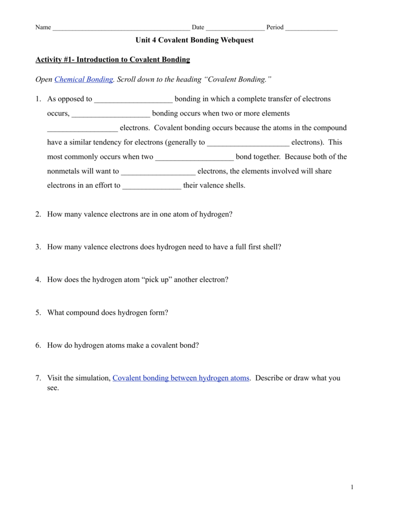 Covalent bonding webquest – Covalent Bonding Worksheet Answers