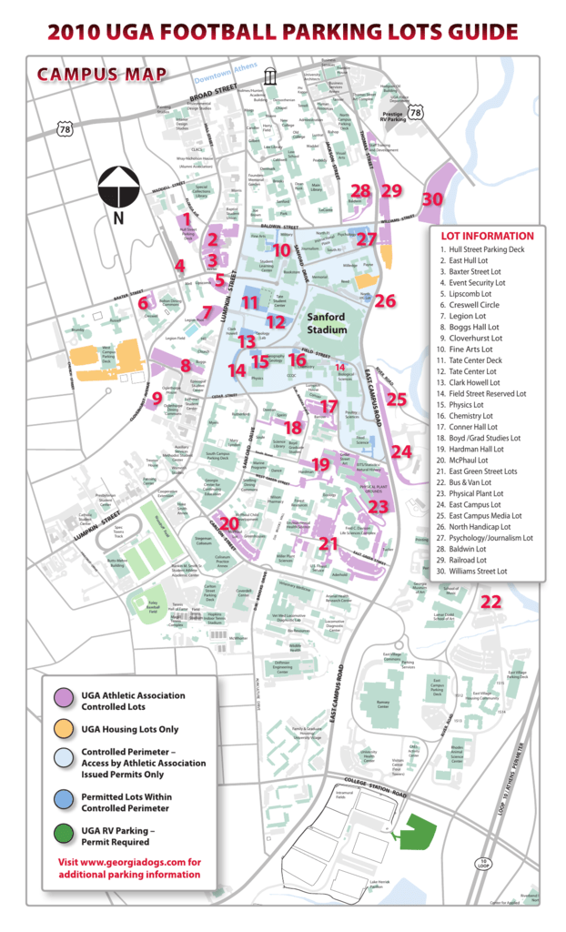 Uga Campus Map With Building Numbers.2010 Uga Football Parking Lots Guide