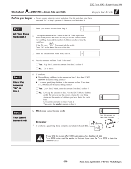 Worksheet —2012 EIC—Lines 64a and 64b Before you begin: All