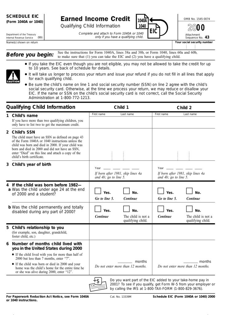 Schedule EIC, Form 1040