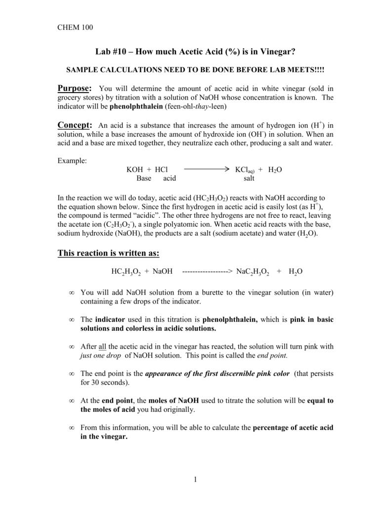 acetic acid in vinegar lab report