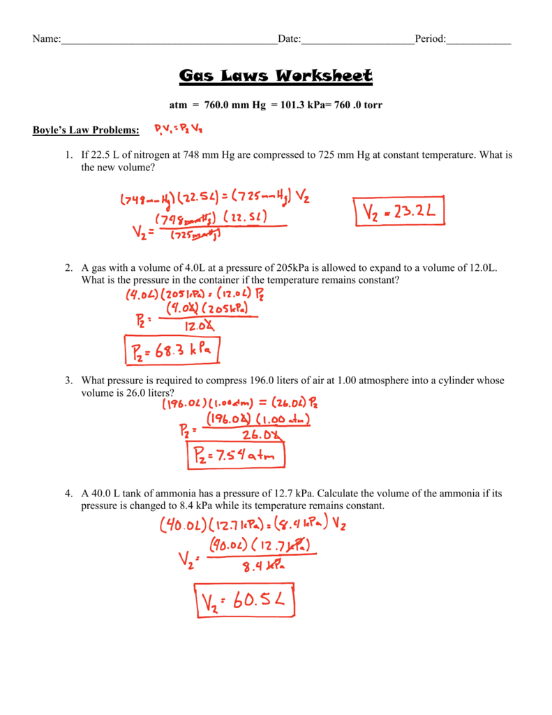 Worksheets Gas Law Worksheet gas laws worksheet answer key