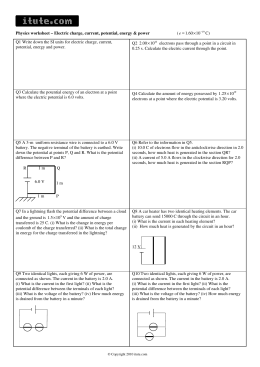 Physics worksheet – Electric charge, current, potential