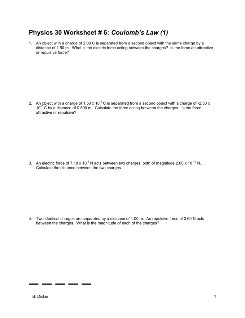 Physics 30 Worksheet 6 Coulombs Law visual – Calculating Net Force Worksheet