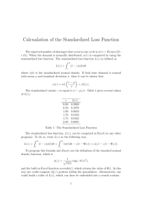 Calcualation of the Standardized Loss Function
