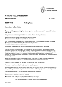 THINKING SKILLS ASSESSMENT SECTION 2 Writing Task