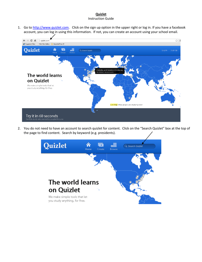 Instruction Guide Quizlet 1  Go to http://www quizlet com