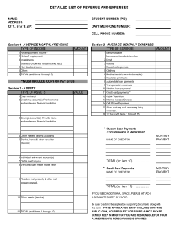 Revenue & Expense Form (pdf format)