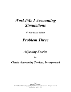 Work4Me I Accounting Simulations Problem Three