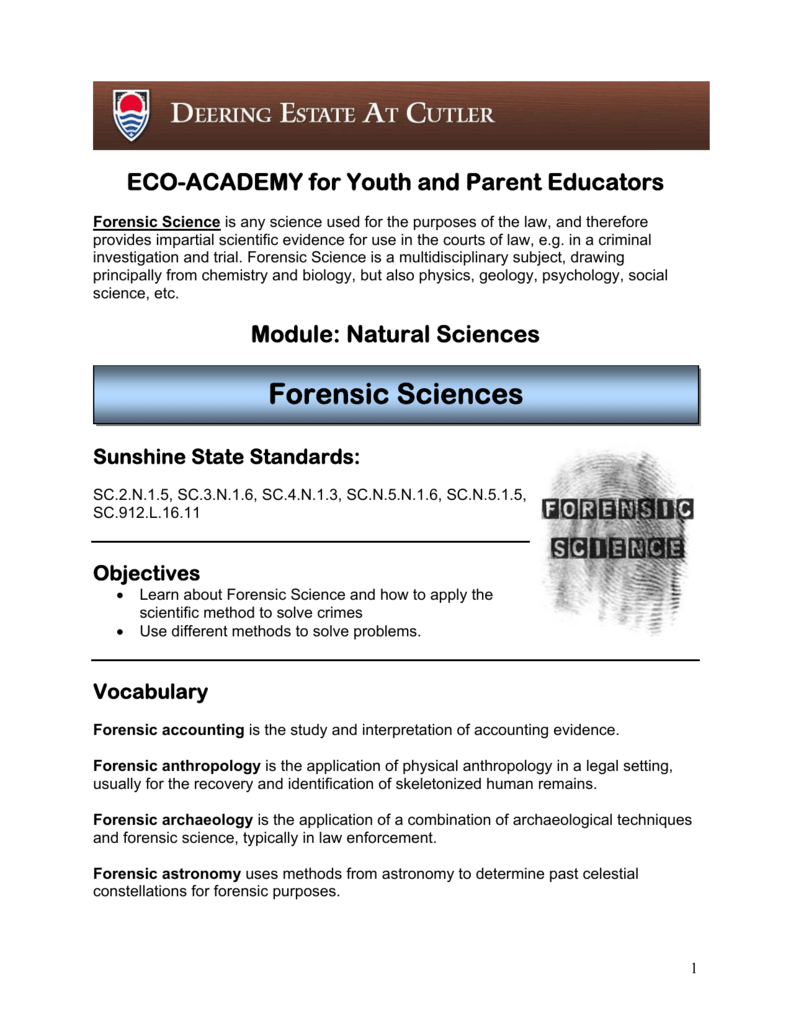 Forensic Sciences Lesson Plan