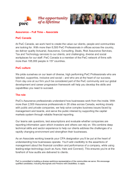 Assurance – Full Time – Associate PwC Canada At PwC Canada