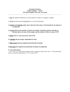 Enriched Chemistry Study Guideline – Unit IV The Mole (Chapter 10