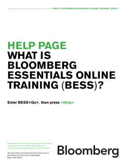 help page what is bloomberg essentials online training (bess)?