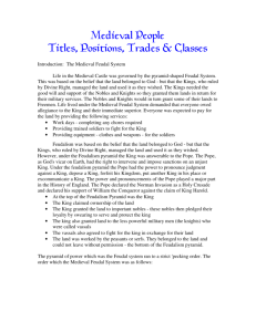 Medieval People Titles, Positions, Trades & Classes