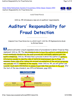 Auditors' Responsibility for Fraud Detection