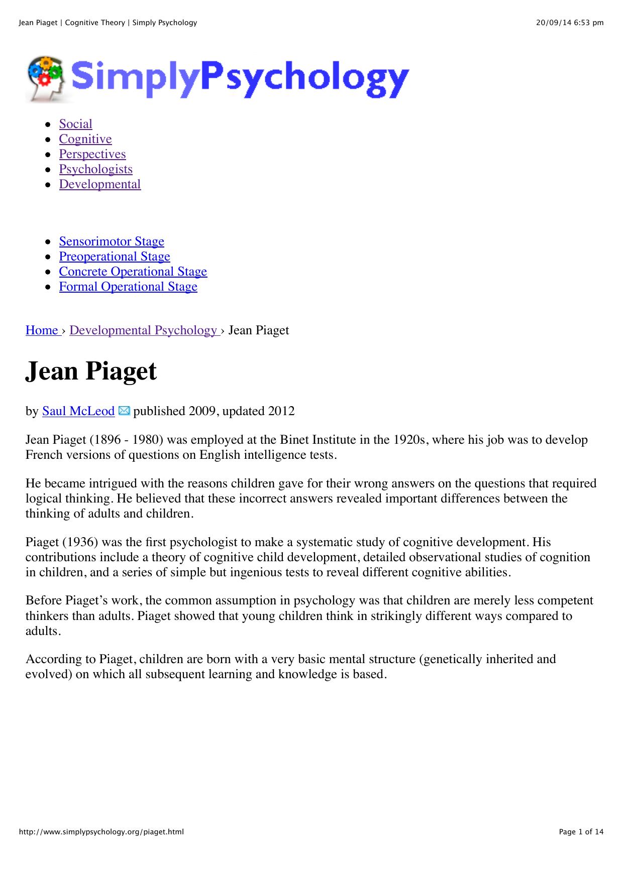jean piaget works