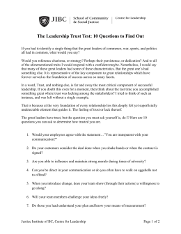 The Leadership Trust Test: 10 Questions to Find Out