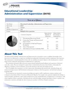 Educational Leadership: Administration and Supervision (0410)