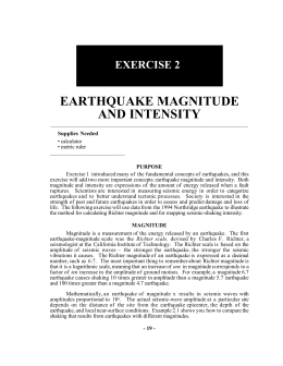 Exercise 2. Earthquake magnitude and intensity