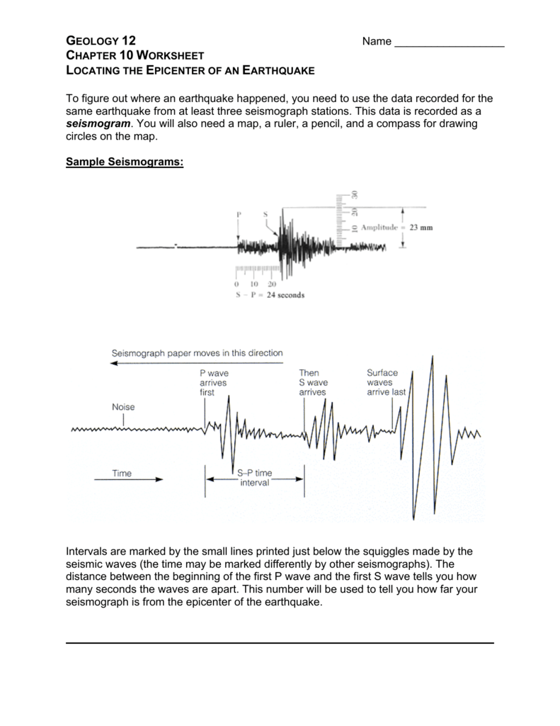 worksheet Find The Epicenter Worksheet locating the epicenter of an earthquake ws