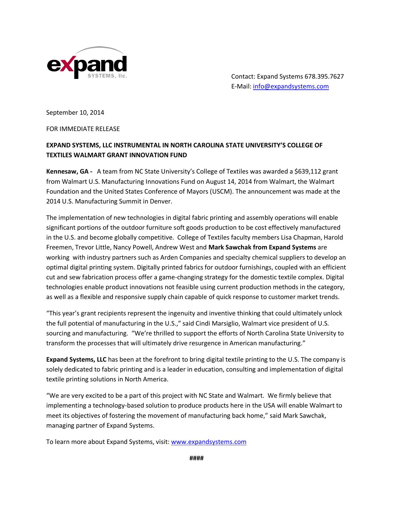 Contact: Expand Systems 678 395 7627 E