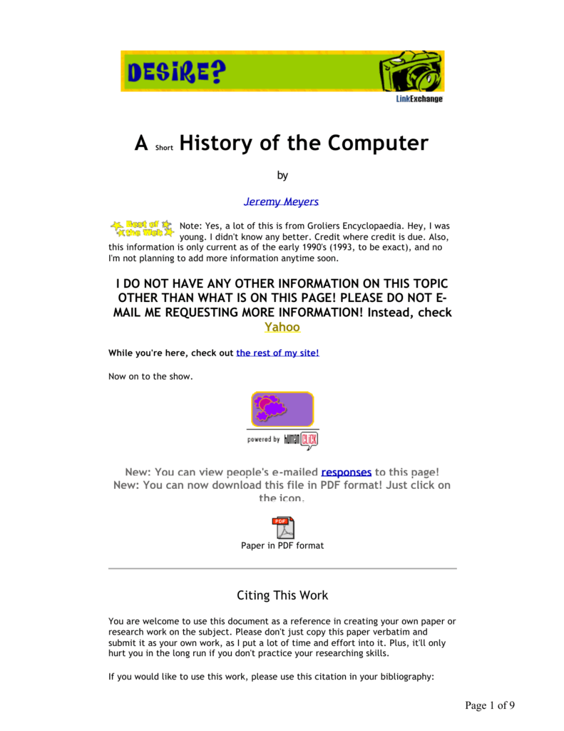 short note on history of computer