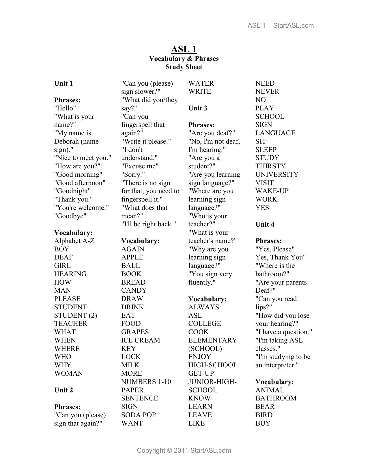 Asl 1 Vocab Study Sheet Start American Sign Language