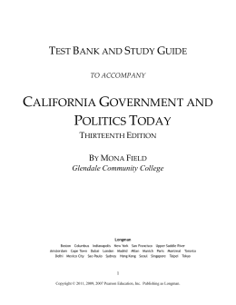 Test Bank for Calif Gov and Pol Today, 12th ed