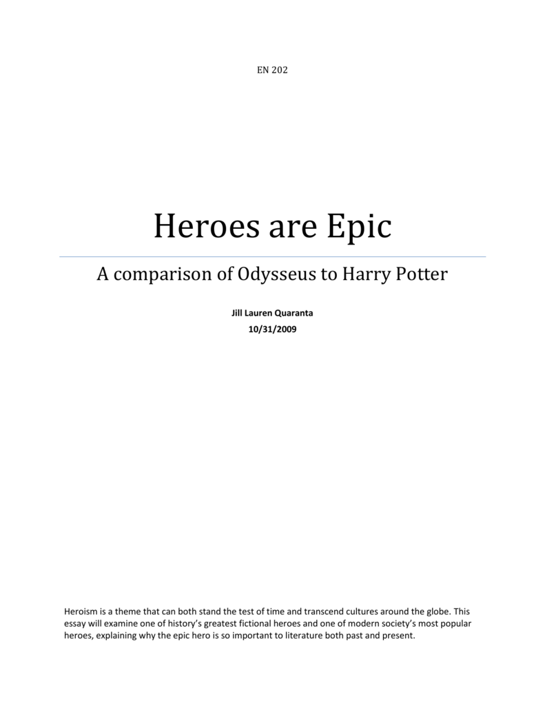 heroes are epic a comparison of odysseus to harry potter