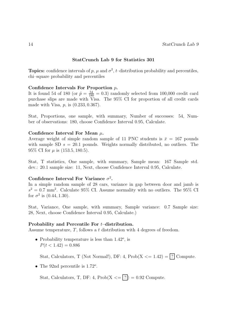 14 StatCrunch Lab 9 StatCrunch Lab 9 for Statistics 301 Topics