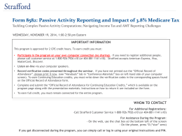 Form 8582: Passive Activity Reporting and Impact of 3.8% Medicare