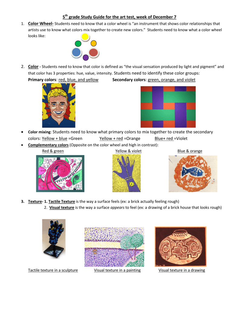 5th grade study guide for the art test week of december 7 primary