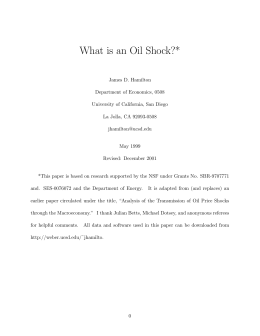 What is an Oil Shock? - UC San Diego Department of Economics