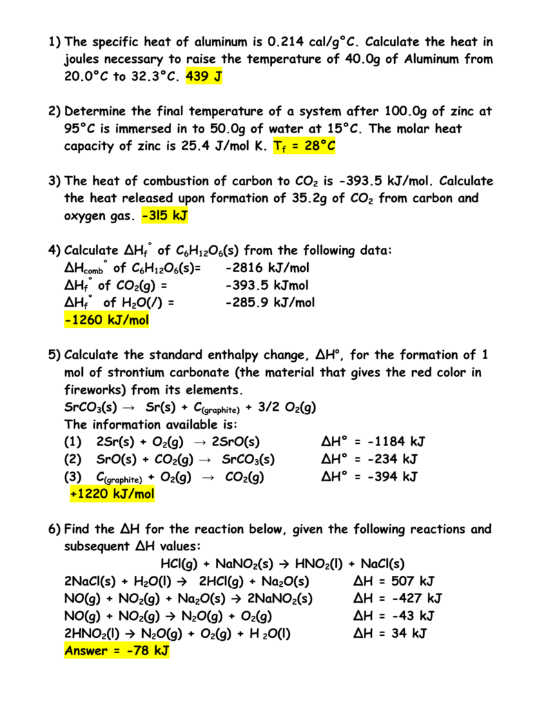 1) the specific heat of aluminum is 0.214 cal/g°c. calculate the heat