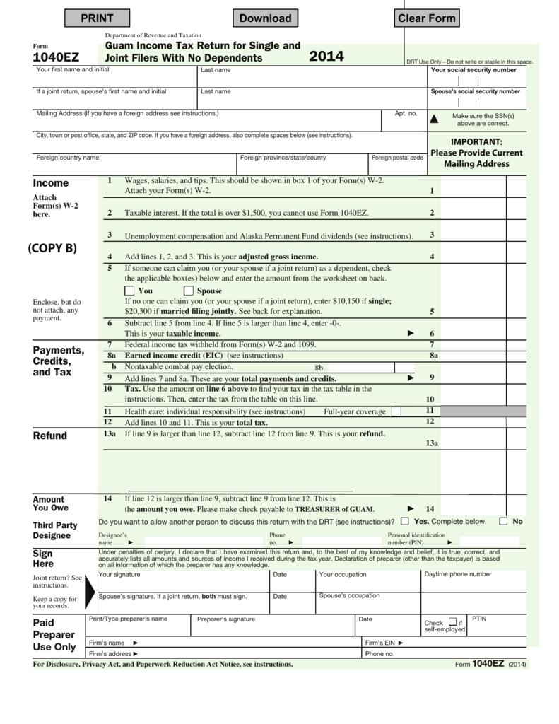 Form 1040ez 2014 govguamdocs falaconquin