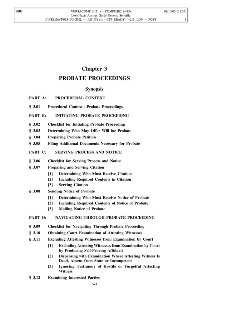 Chapter 3 PROBATE PROCEEDINGS