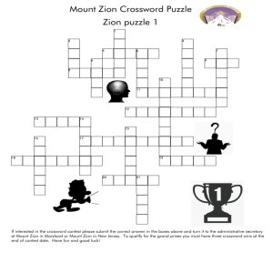 Mount Zion Crossword Puzzle Zion puzzle 1