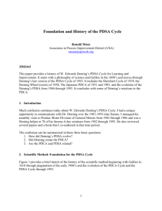 Foundation and History of the PDSA Cycle