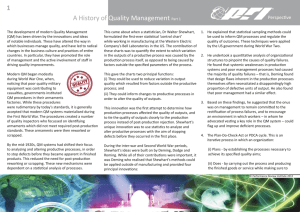 A History of Quality Management Part 1 1