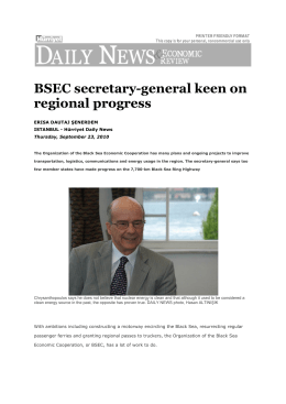 BSEC secretary-general keen on regional progress