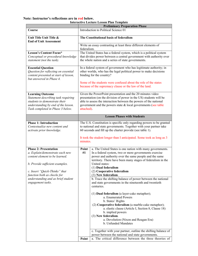 Interactive Lecture Lesson Plan Template