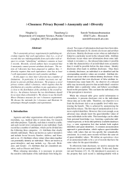 t-Closeness: Privacy Beyond k-Anonymity and l