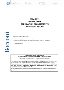 2014-2015 isu bocconi application requirements and regulations