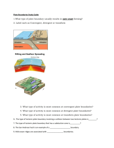 Plate Boundaries Study Guide 1.What type of plate boundary usually